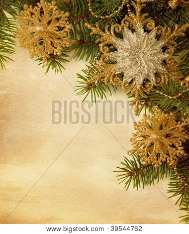 Beige paper background with Christmas border.