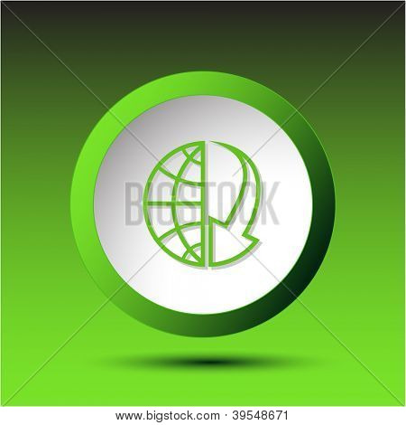 Globe and array down. Plastic button. Vector illustration.