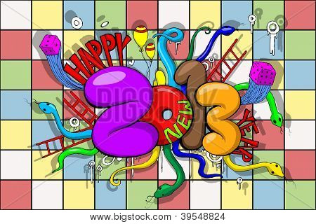 illustration of Happy New Year in Snake and Ladder game