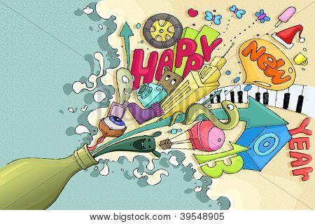 illustration of Happy New Year splashing from champagne bottle