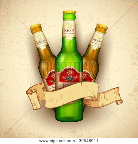illustration of beer bottle with ribbon on grungy background