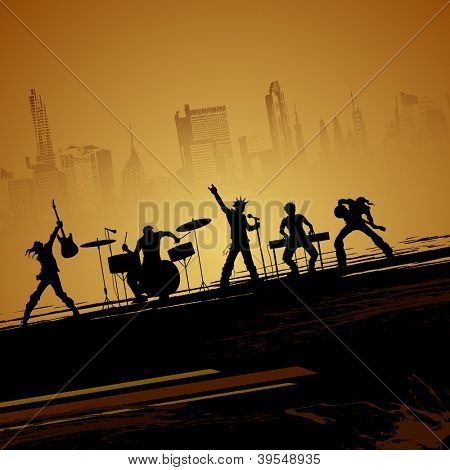 illustration of band of musician performing on cityscape backdrop