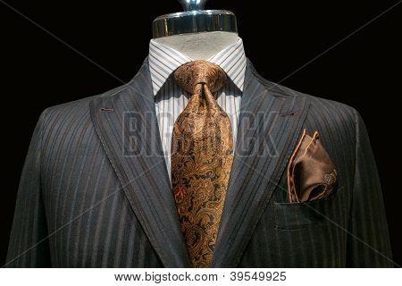 Grey Striped Jacket With Yellow Tie (horizontal)