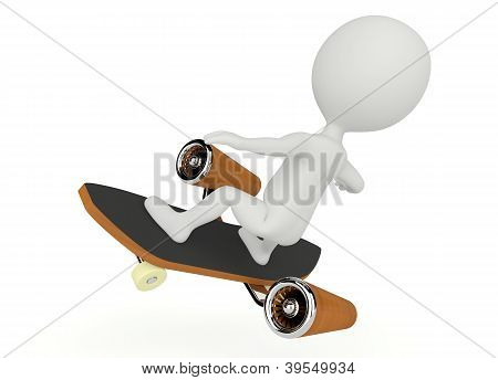 3D Humanoid Character Fly On A Skateboard