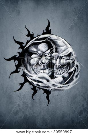 Sketch of tattoo art, sun and moon