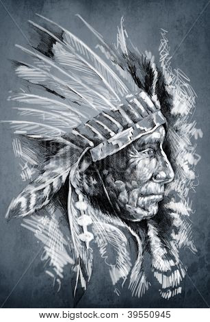 Sketch of tattoo art, native american indian head, chief, dirty background
