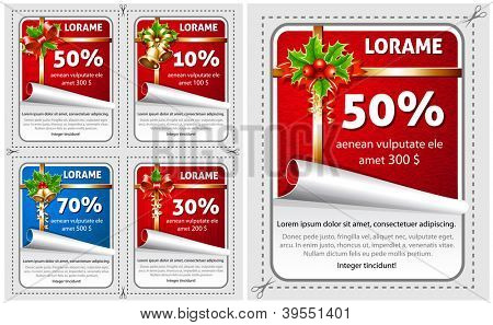 Vector sale Christmas stickers with traditional decorations