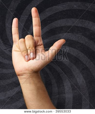Gesturing Human Hand isolated on a spiral background