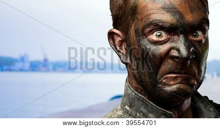 Close Up Of Angry Soldier Face at a port