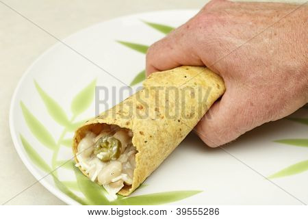Hand Holding A Burrito