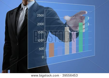 Empuje gráfico de la escritura de la mano de hombres de negocios