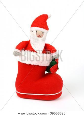 Santa stay in red  boot. Concept of christmas or holiday