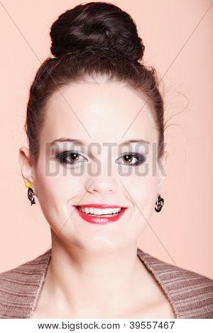 Sexy Woman Portrait Look Happy Smile Makeup