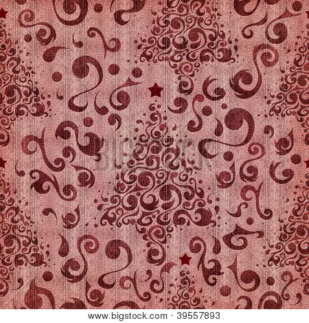 Christmas Tree Denim Textured Pattern