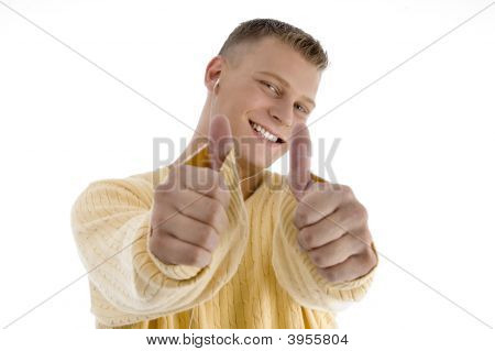 Handsome Man Showing Good Luck Sign With Both Hands