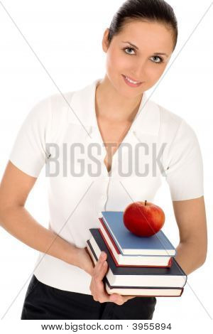Woman Holding Books And Apple