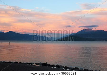 Lake Garda Panoramic Sunset View