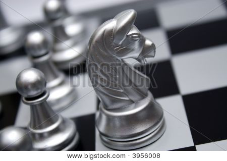 Silver Chess Horse