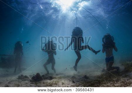 underwater dancing silhouette
