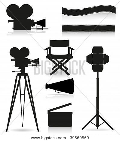 Set Icons Silhouette Cinematography Cinema And Movie Vector Illustration