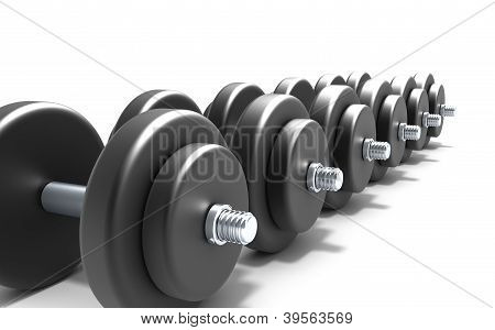 Black dumbbells over white background
