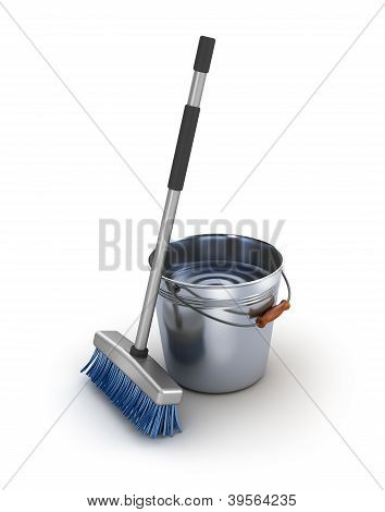 Cleaning equipment. Bucket and mop over white