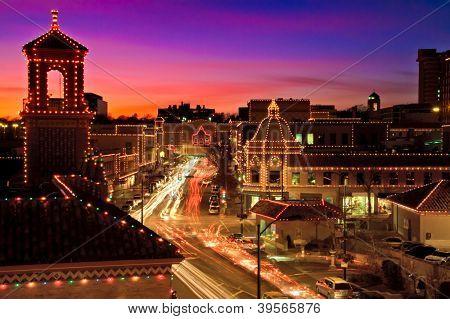 Kansas City Plaza Christmas Lights Skyline