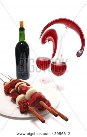 Raw Shish Kebab And Red Wine