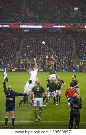 TWICKENHAM LONDON - NOVEMBER 23: Adriaan Strauss takes throw in at England vs South Africa, England playing in white lose 16-15, at QBE Rugby Match on November 23, 2012 in Twickenham, England