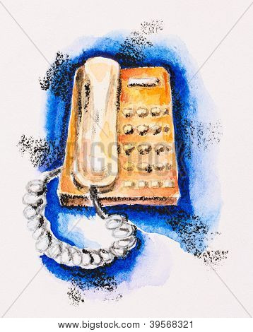 Orange push-button telephone on blue, watercolor with slate-pencil painting