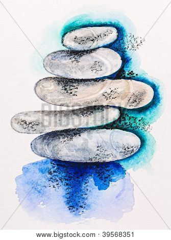 Pebble stones heap harmony symbol, watercolor with slate-pencil painting