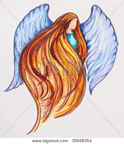 Redhead Angel, watercolor with slate-pencil painting