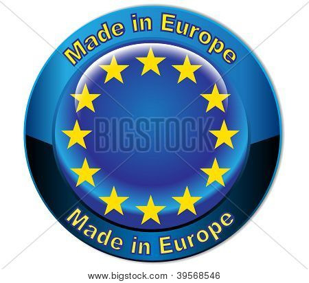 Made in Europe  flag globe button