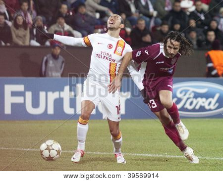 CLUJ-NAPOCA, ROMANIA - NOVEMBER 7:  Ulmut Bulut and Piccolo in UEFA Champions League match between CFR 1907 Cluj vs Galatasaray,  on 7 Nov., 2012 in Cluj-Napoca, Romania