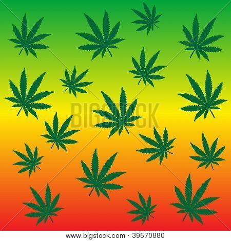 Rastafarian Background With Marijuana Leaves