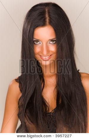 Beautiful Smiling Brunet Girl