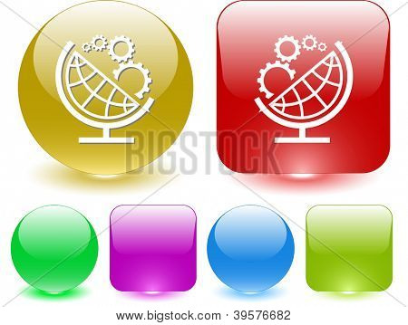 Globe and gears. Interface element. Raster illustration.