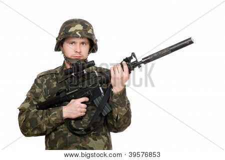 Soldier Holding M16