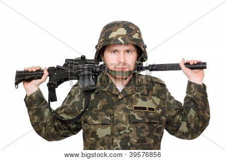 Soldier With M16 On The Shoulders