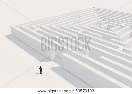Businessman Deciding To Enter Maze