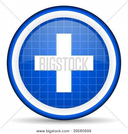 emergency blue glossy icon on white background