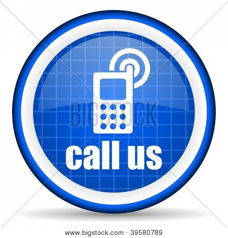 call us blue glossy icon on white background