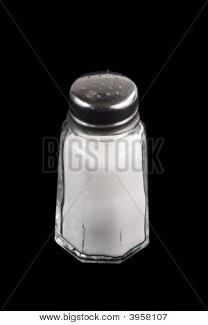 Salt Shaker On Black Background