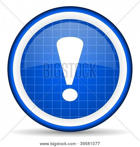exclamation sign blue glossy icon on white background