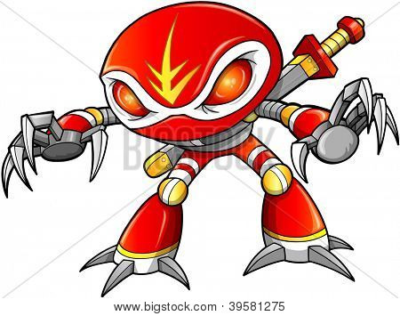 Warrior Ninja Soldier Robot Cyborg Vector