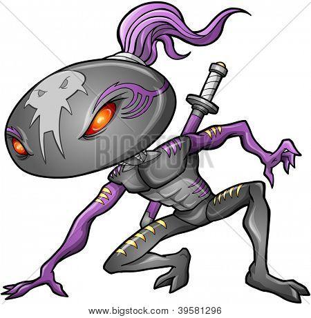 Cyborg Alien Ninja Warrior Robot Vector