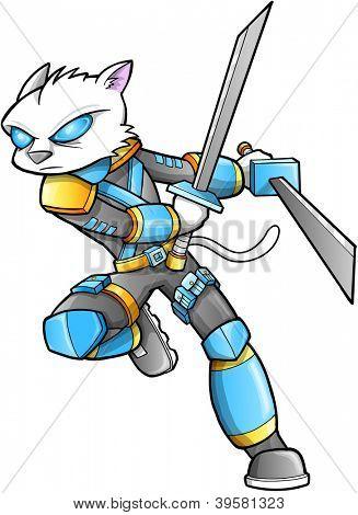 Warrior Ninja Cyborg Soldier Vector