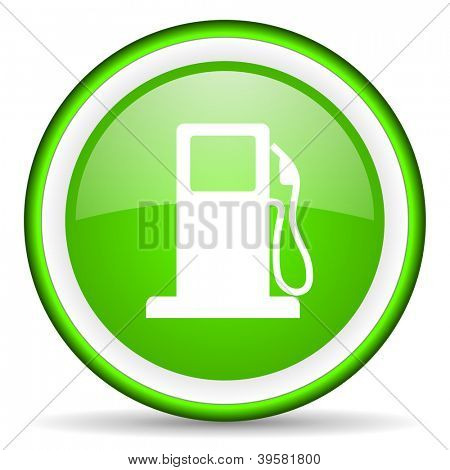 fuel green glossy icon on white background