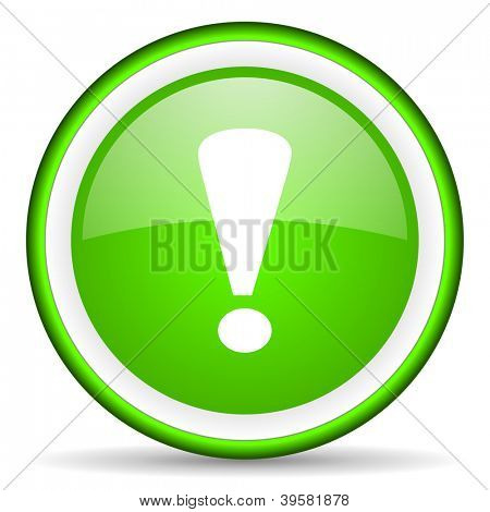 exclamation sign green glossy icon on white background