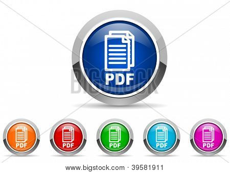 pdf glossy icons on white background